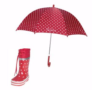 Детски гумени ботуши и чадър dots