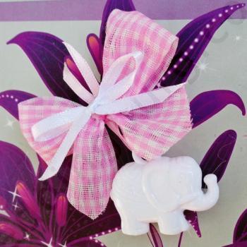 Акрилно слонче с розова панделка