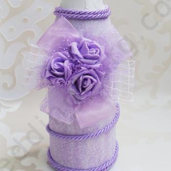 Бутилка, сватбено шампанско в лилаво SH55