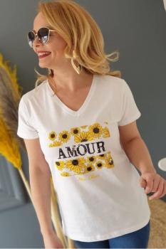 Бяла тениска с щампа на маргаритки 0923