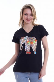 Дамска тениска с къс ръкав и апликация на слон 0917