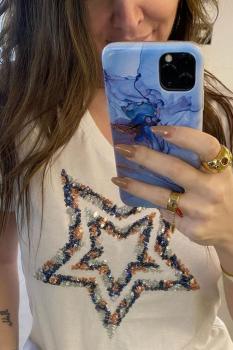 Дамска тениска с къс ръкав и апликация на звезда 0905
