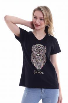 Дамска тениска с мотив сова 0922