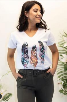 Дамска тениска с пера от пайети 0926