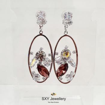 Дамски обеци с кристали SE10286
