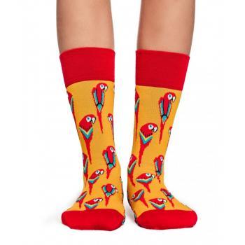 Дамски памучни чорапи с мотив на папагали жълти