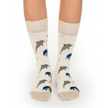Дамски памучни чорапи с мотив happy dolphins
