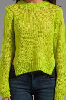 Дамски пуловер в сигнално зелен цвят Cheap Monday