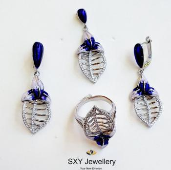 Дамски сребърен комплект с емайл и кристали| SS4125