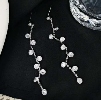 Дамски сребърни обеци с кристали SE0074