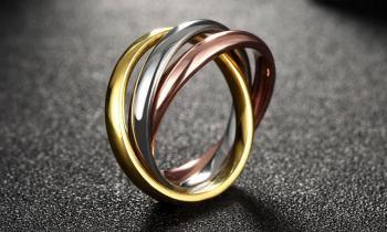 Дамски триколорен пръстен от стомана SR22643