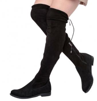 Дамски чизми от стреч с цип и връзки в черно 621