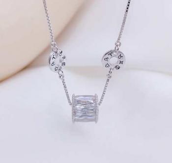 Дамско сребърно колие с кристали SN2205