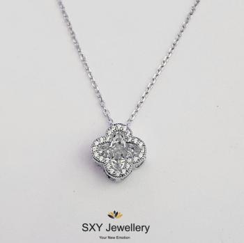Дамско сребърно колие с цирконии SN5104