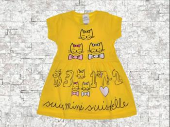 Детска рокля жълта котета 1-10 г