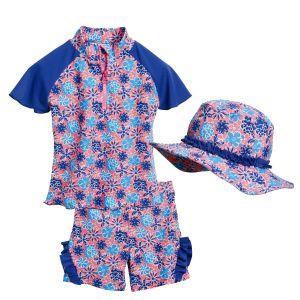 Детски бански за момиче сини цветя 3