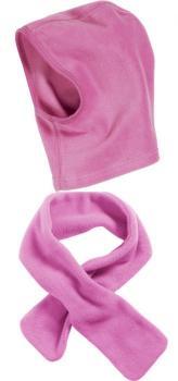 Детски шал и шапка розово 1