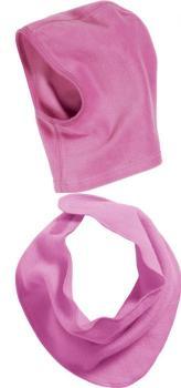 Детски шал и шапка розово 2