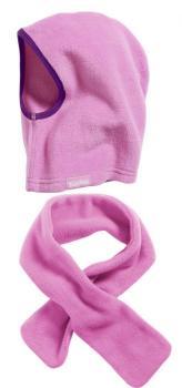 Детски шал и шапка розово 3