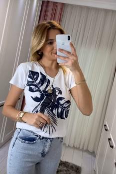 Ефектна, дамска, бяла тениска 0919