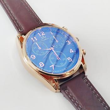 Кварцов часовник с кожена каишка
