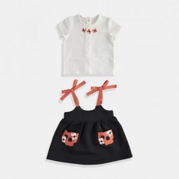 Комплект блуза с къс ръкав и рокля - Цвете