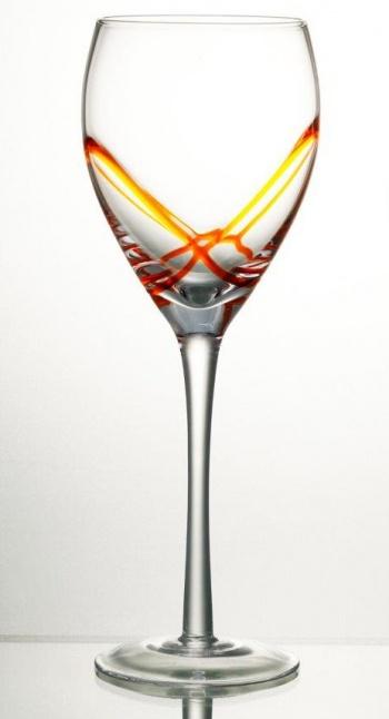 Комплект 6 чаши за вино със столче 365 мл серия: x &8211 tream orange