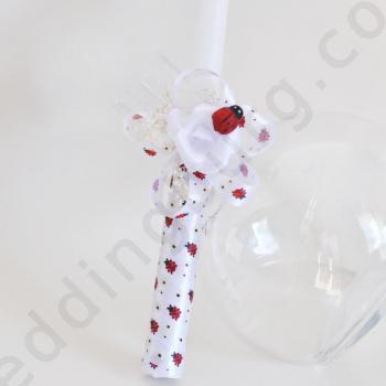 Кръщелна свещ с калинки SV25