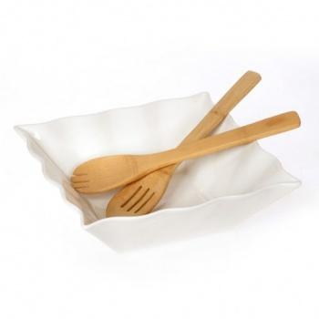 Купа за салата с бамбукови прибори за сервиране &8211 квадратна форма &8211 размери: 28x28x10
