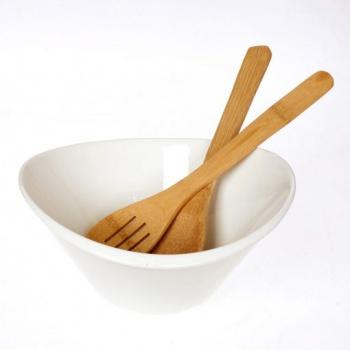 Купа за салата с бамбукови прибори за сервиране &8211 кръгла форма &8211 размери: 26x25x12