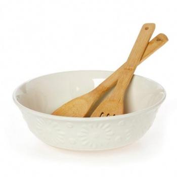 Купа за салата &8211 27 см с бамбукови прибори за сервиране &8211 материал stoneware &8211 серия: flower &am