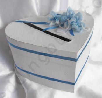 Кутия за пари с декорация в син цвят KK016
