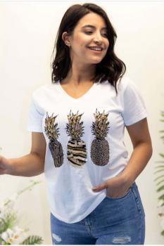 Модерна тениска с ананаси от пайети 0927