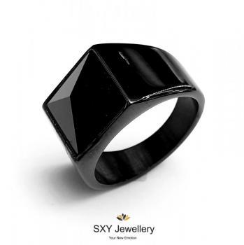 Мъжки черен пръстен с камък SR45957