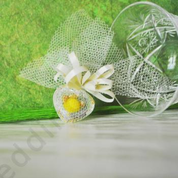 Подарък за гости на сватба и кръщене - кристално сърце с бонбон