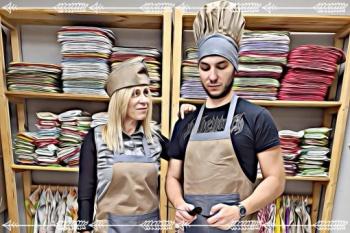 Престилка за готвене -деним -синьо/екрю -вани дизайн