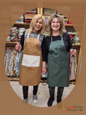 Престилка за готвене с шапка за готвене &8211 материя деним -модел 1 златно/бяло, модел 2 зелено