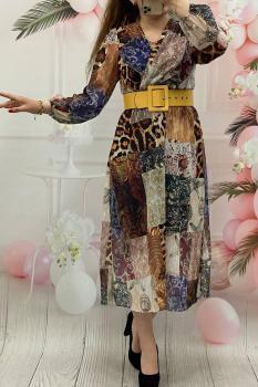 Пъстра рокля с ластик в талията