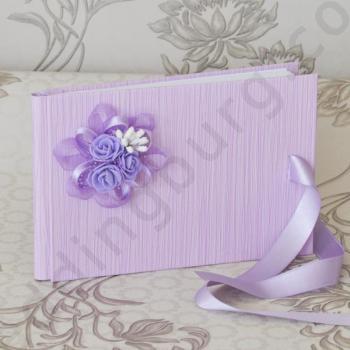Сватбена книга за пожелания в лилаво, модел PSK01