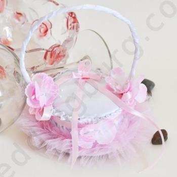 Сватбена кошничка за халки в розово KX026