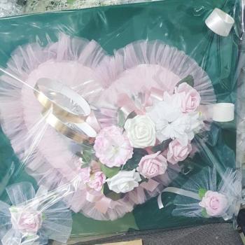 Сватбена украса за кола в розово, модел CD004