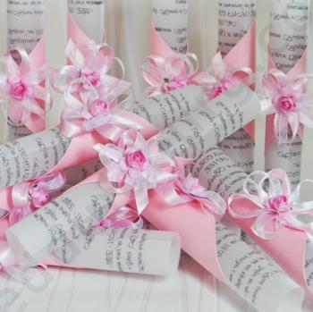 Сватбени покани - Свитък с розова декорация