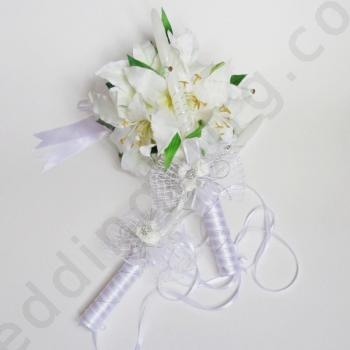 Сватбени свещи в бяло и сребристо, модел RS030