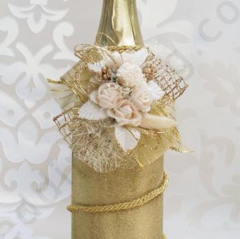 Сватбено шампанско в златист цвят SH57