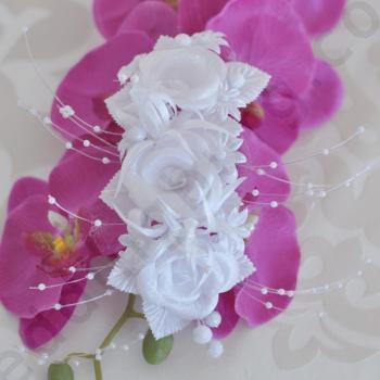 Сватбен аксесоар за коса със сатенени рози, модел D020