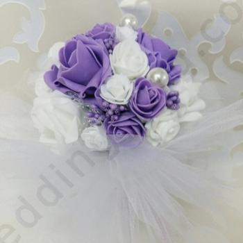 Сватбен букет в лилаво, модел F027
