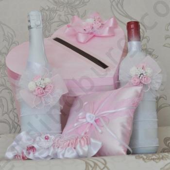 Сватбен комплект аксесоари в розово, модел KA034