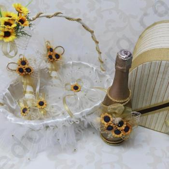 Сватбен комплект със слънчогледи, модел KA041