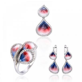 Сребърен комплект - пръстен, висулка и обици с емайл и кристали SB03510