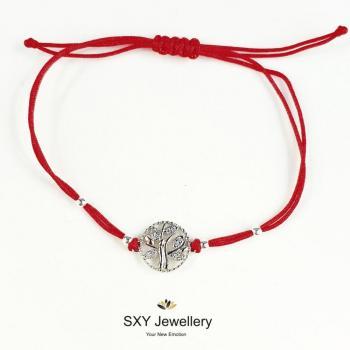Сребърна гривна с червен конец модел SBT39